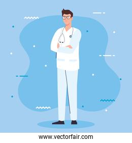 professional doctor with stethoscope and uniform, man doctor, hospital worker