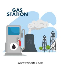 gas station and refinery chimney scene