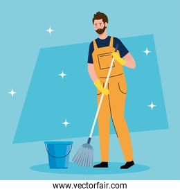 man cleaning worker with mop and bucket, man janitor with mop and bucket