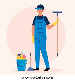 man cleaning worker with bucket and tools, man janitor bucket and tools