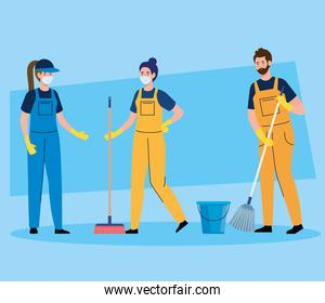 janitors team cleaning service, people cleaners wearing medical mask, in uniform working with professional equipment of cleaner