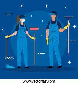 janitors team cleaning service, couple cleaners wearing medical mask, in uniform working with professional equipment of cleaner