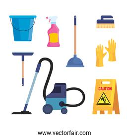 set of cleaning supplies icons