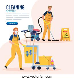 banner, janitors team cleaning service, couple cleaners wearing medical mask, in uniform working with professional equipment of cleaner