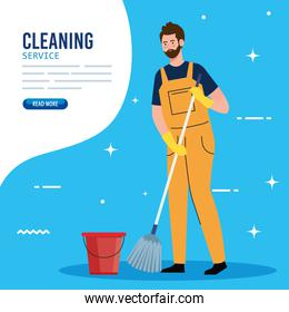 banner, man cleaning worker with mop and bucket, man janitor with mop and bucket