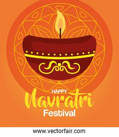 happy navratri celebration poster with candle light