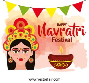 poster of goddess durga with garlands hanging for happy navratri celebration