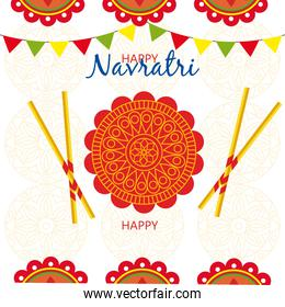 happy navratri celebration poster with decoration