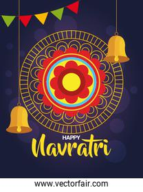 happy navratri celebration poster with gold circular frame and decoration