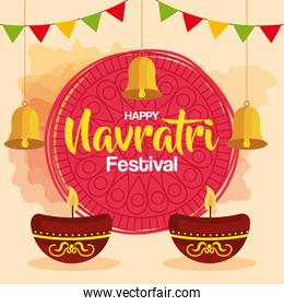 happy navratri celebration poster with candles in ceramic pot and decoration