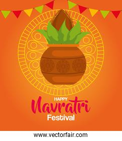 happy navratri celebration poster with plant in ceramic and garlands hanging