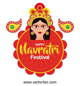 poster of goddess durga for happy navratri celebration