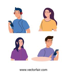 group people using headphones and smartphone