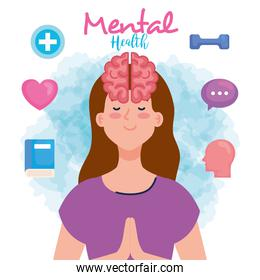mental health concept, woman with mind and healthy icons