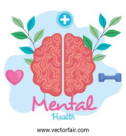 mental health concept, brain with leaves, positive mind with healthy icons