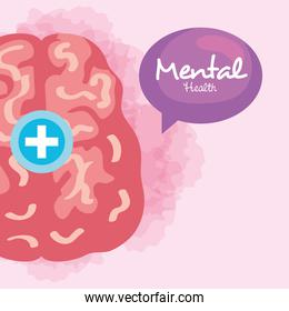mental health concept, with brain, positive mind