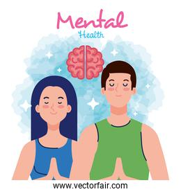 mental health concept, couple with healthy mind