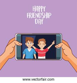 happy friendship day celebration with boys couple in smartphonr
