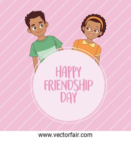 happy friendship day celebration with afro kids couple