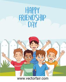 happy friendship day celebration with group of boys in the park