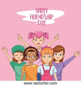 happy friendship day celebration with group of girls