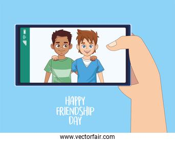happy friendship day celebration with boys couple in smartphone