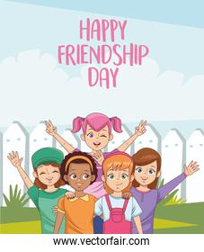 happy friendship day celebration with group of girls in the park