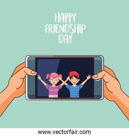 happy friendship day celebration with kids couple in smartphone