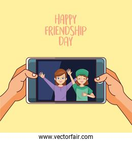 happy friendship day celebration with girls couple in smartphone