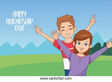 happy friendship day celebration with kids couple