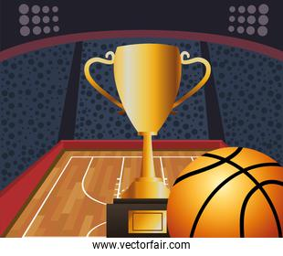 basketball sport poster with balloon and trophy