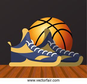 basketball sport poster with balloon and tennis shoes