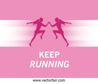 silhouettes of athletic women running