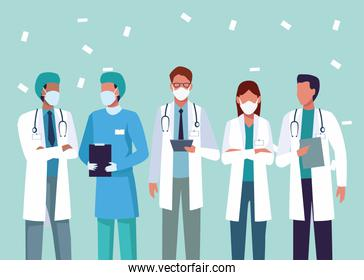 group of doctors wearing medical masks characters