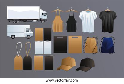 transport vehicles with mockup ,branding and stationery set icons