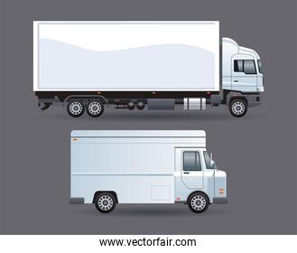 truck and van white branding isolated icon