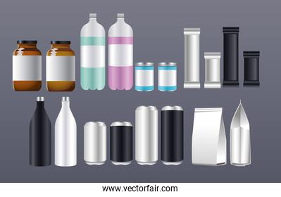 bottles and cans products packing branding icons