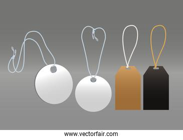 carton commercial tags hanging