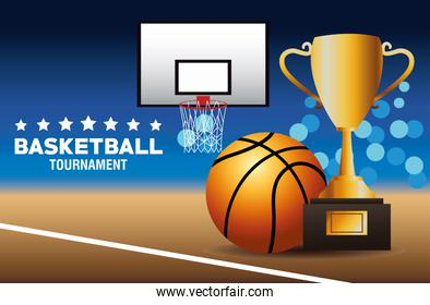 basketball sport poster with balloon and trophy in court