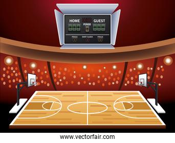 basketball sport cartel with court and scoreboard