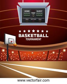 basketball sport poster with balloon and scoreboard in court