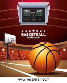 basketball sport banner with balloon and scoreboard in court