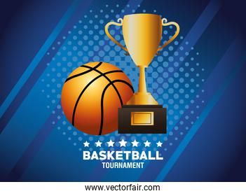 basketball sport poster with trophy and balloon