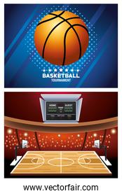 basketball sport poster with balloon in court
