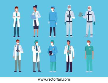 group of doctors staff wearing medical mask
