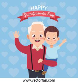 happy old grandfather with little grandson and lettering