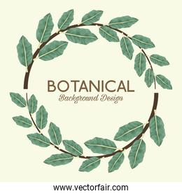 tropical leafs in circular frame and lettering botanical background design