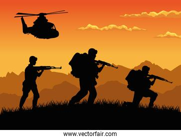 military soldiers with guns and helicopter silhouettes sunset scene