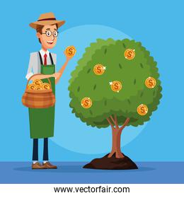 businessman cultivating money dollars tree character