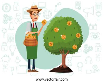 businessman cultivating money tree character